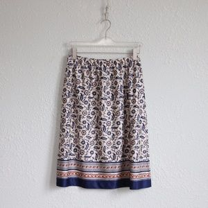 Vintage 1970s Floral Skirt Paisley M/L