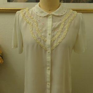 MiJiN Vintage Off White Short Sleeve Blouse Top