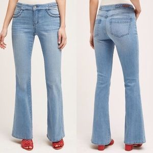 Anthro Pilcro Braided Flare Jeans