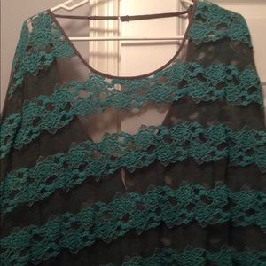 Turquoise lace FP top