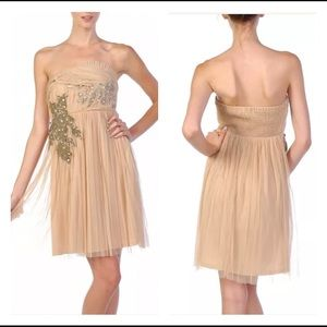 🎄Strapless Nude Silver Beads Cocktail Party Dress