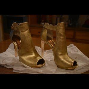 BCBG Max Azria Dark Gold Steel Leather Heels