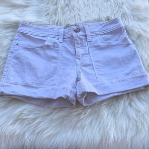 Zara Basic Denim White Big Pocket Jean Shorts