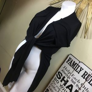 Anne Klein black tie front Cardigan Sz XL