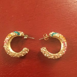 Multi-colored rhinestone earrings