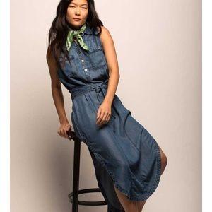 Jachs NY- Denim Sleeveless Shirt Dress - Dark Wash