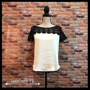 NWT LC Lauren Conrad Crochet Trim  Satin Top