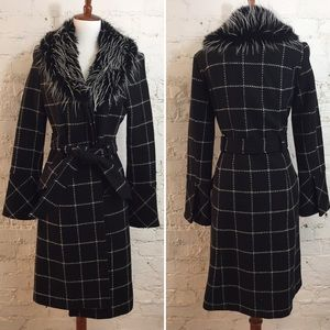 FRENCHI Wool Trench Winter Coat, B&W Faux Fur