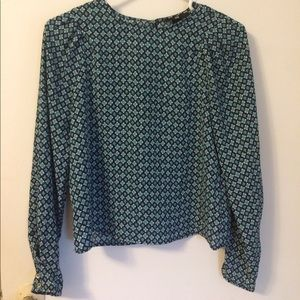 Navy blue teal patterned top