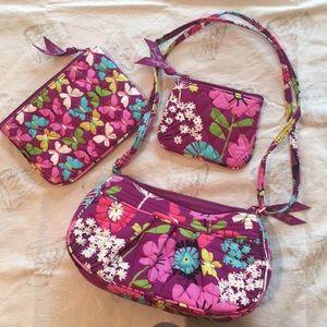 Vera Bradley crossbody, two smaller zip bags