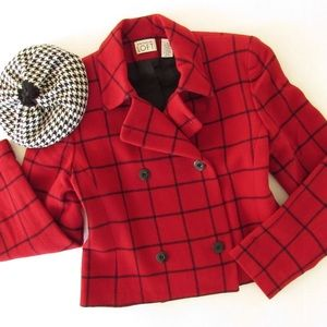 LOFT red plaid cropped double breasted wool jacket