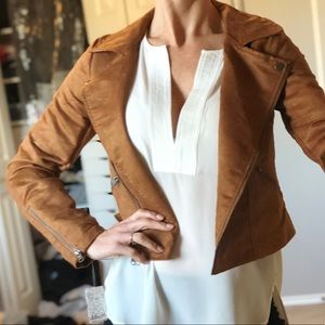 Camel suede jacket small NWT