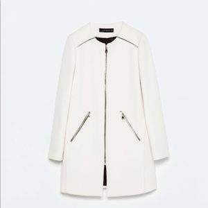 Zara White Round Neck Jacket Size Small