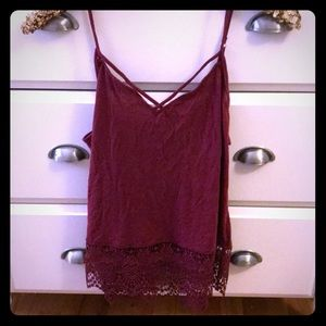 Express Maroon Top with Crocheted Bottom