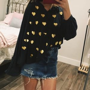 Wildfox Hopeless Romantic Gold Hearts Top
