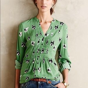 Anthropologie Maeve  Composed Buttondown Terriers