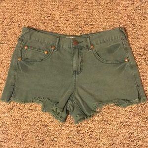 Free People Green Denim Shorts Size 27