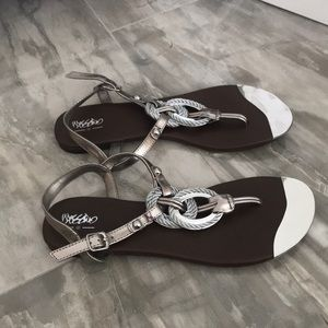 Cute flat sandals with silver trim