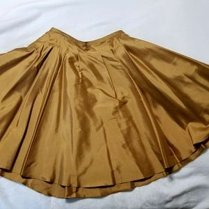 Gold Ralph Lauren flared skirt.