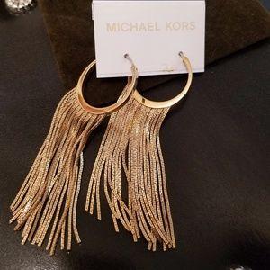 Michael Kors Collection Gold Tone Fringe Hoop Earr