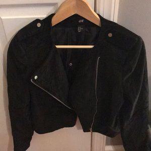 Black velvet cropped jacket