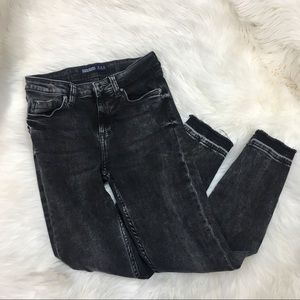 Zara black acid washed skinny jeans size 2