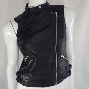 Faux leather vegan black silver biker vest XS