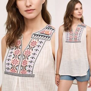 Anthro Embroidered Tunic Plaid Tank