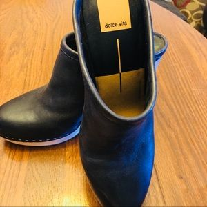 Black leather Dolce Vita  chunky heeled clog. New!
