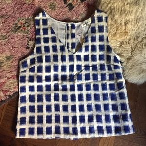 Anthro V Neck Plaid Wood Button Back Tank Blouse