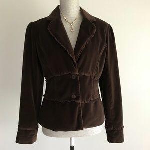 Brown Ruffled Velvet Jacket