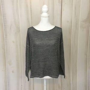 Elieen Fisher Grey Oversized Open Weave Sweater