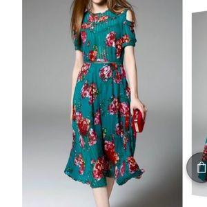 Yuija stylewe designer floral cold shoulder dress
