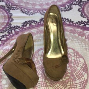 Camel colored suede heels