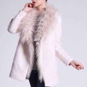 NWT Zara Trafaluc outerwear blush fur trim coat
