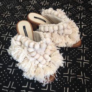 Zara pom pom mules ecru block heels 37