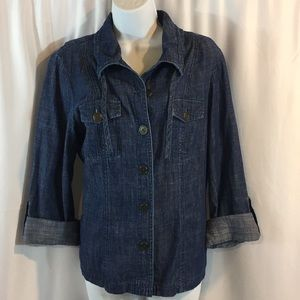 Chico's SZ 1 Chambray Roll Up Sleeve Top