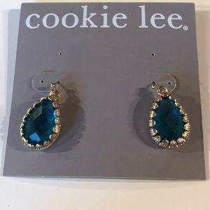 NWT Cookie  Lee Blue Teardrop Earrings