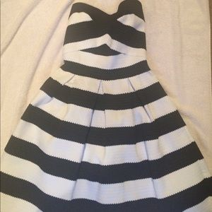 strapless black and white party dress