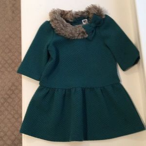 Janie and Jack Quilted Dress with fur accent