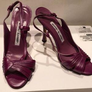 Manolo Blahnik open toe heels w adjustable strap
