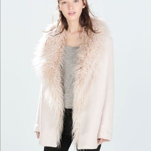 ZARA PALE BLUSH WOOL BLEND FUR NECKLINE COAT
