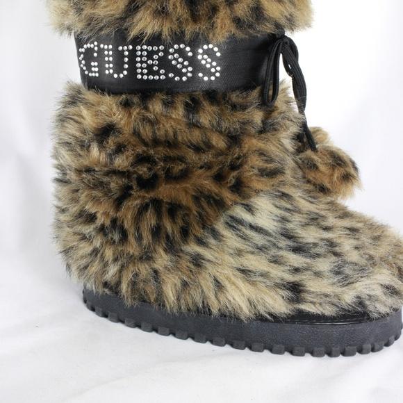 New Guess Girls Leopard Print Faux Fur