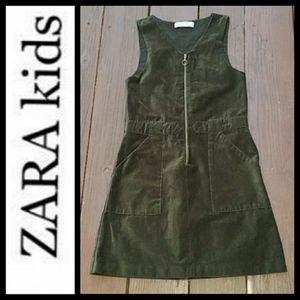 ZARA KIDS GIRLS OLIVE GREEN VELVET JUMPER DRESS
