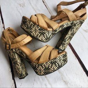Qupid woven platform heels