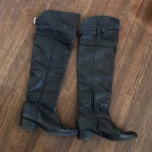 Zara made in Spain Leather thigh high boots
