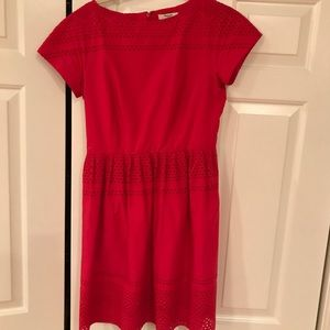 Red Madewell eyelet dress