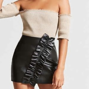 Forever 21 Faux Leather ruffle mini skirt NEW