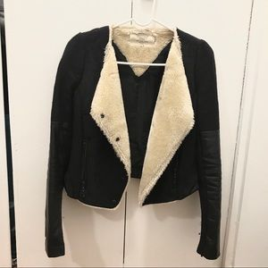 Moto biker Jacket with leather & faux fur details