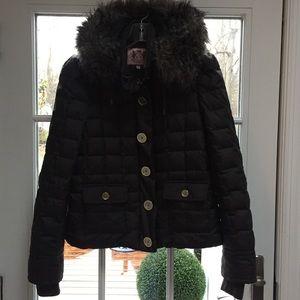 Juicy Couture Down Parka, removable hood black,  M
